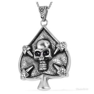Spade Skull Pendant Necklace in Stainless Steel